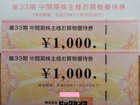 ビックカメラ株主優待2013年2月