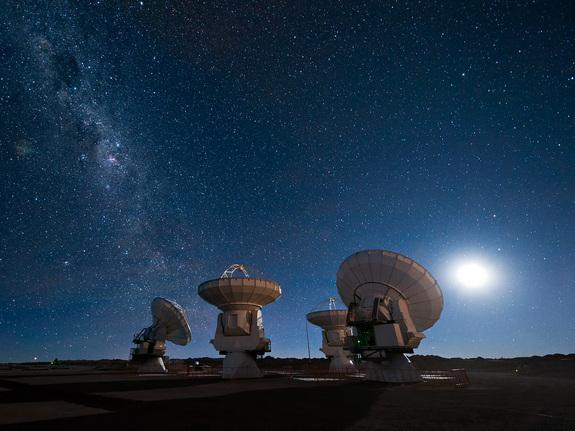 とある明るい夜空と天文台の情景imagejpeg