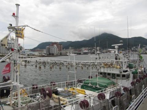 イカ釣り漁船と函館山