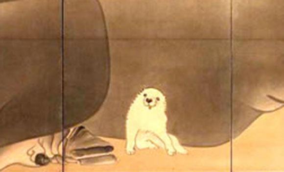 白象黒牛図屏風1