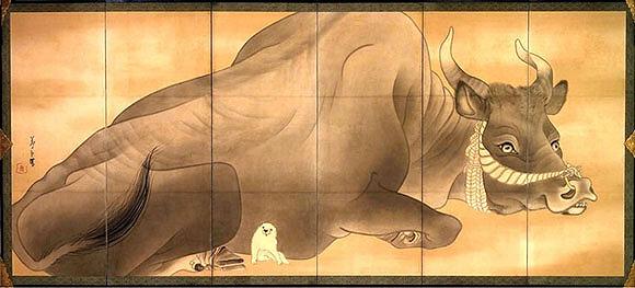 白象黒牛図屏風2