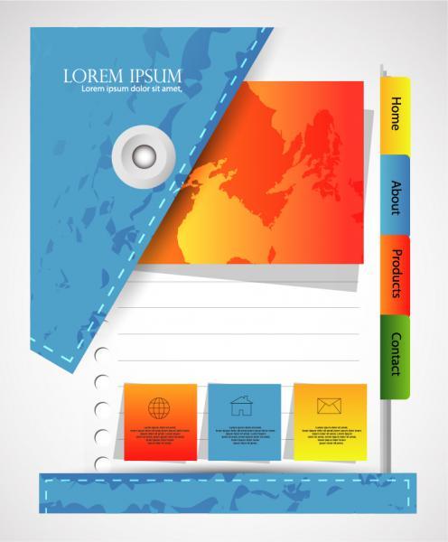 ノートの付箋を描いたウェブ デザイン web page design fashion labels