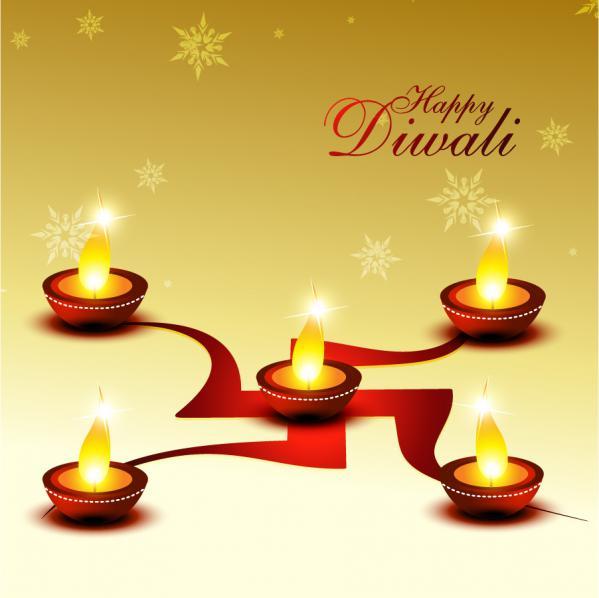 ロウソクを灯したディワリカードの背景 beautiful candlelight diwali cards