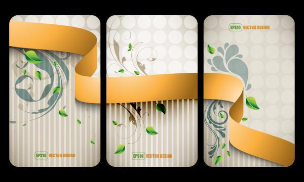 美しいリボンのカード テンプレート ribbons business cards templates
