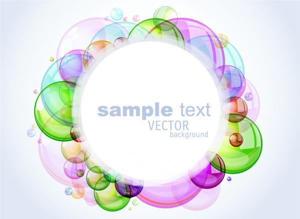 カラフルな泡で囲んだフレーム colorful brilliant bubbles frame