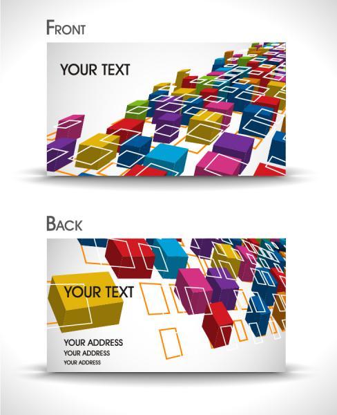 カラフルなボックスを重ねたカードの背景 dynamic box cards templates