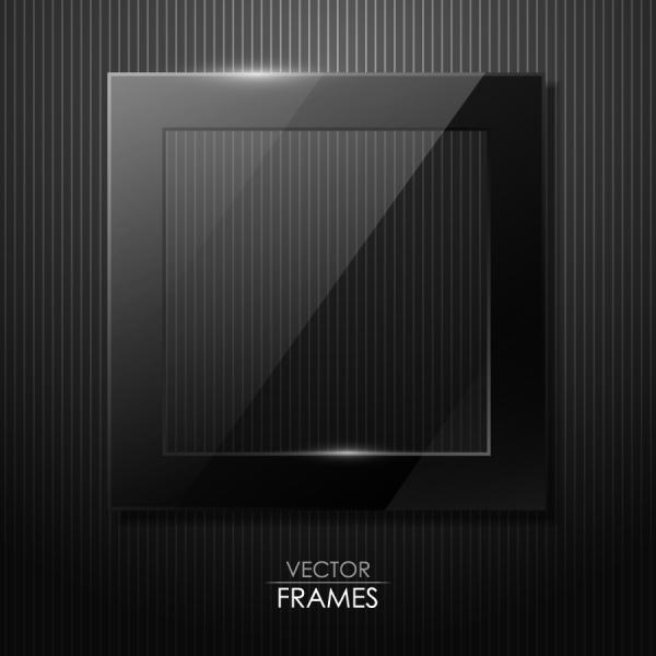 黒く光沢あるガラス質感のフレーム black cool glass texture frame