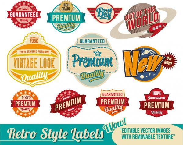 古風なプレミア ラベル nostalgia trend label vector