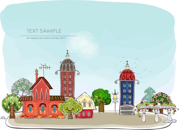 漫画風の都会の町並み cartoon urban element vector