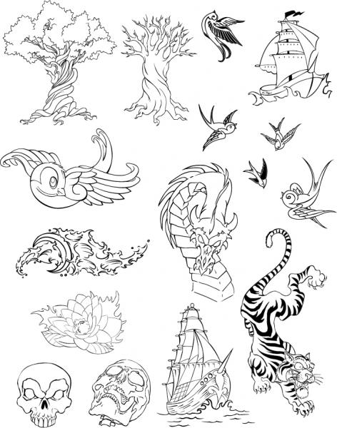 様々な線画素材 variety line drawing vector material