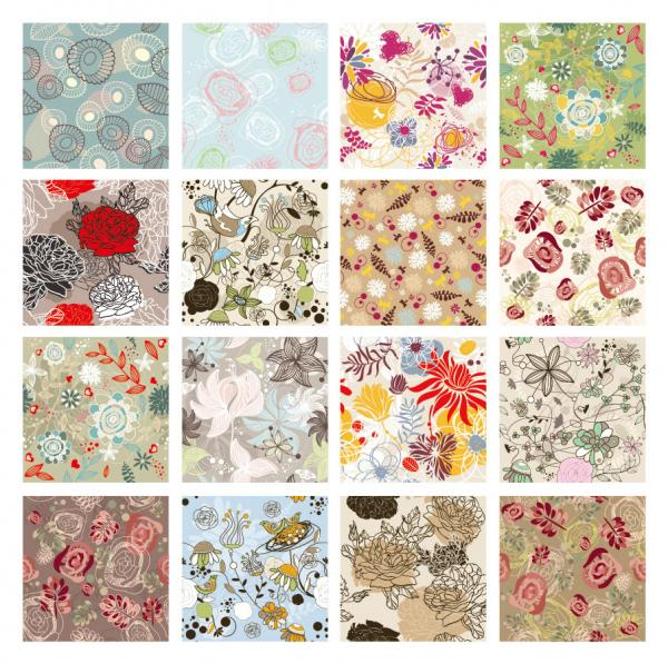 美しい花柄パターンの背景集 Fine flower pattern background
