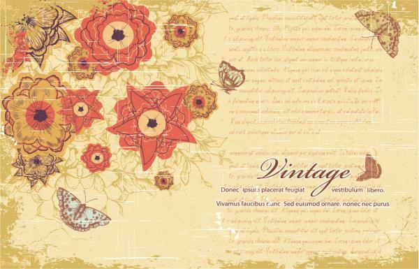 レトロな花と蝶の背景 retro pattern background