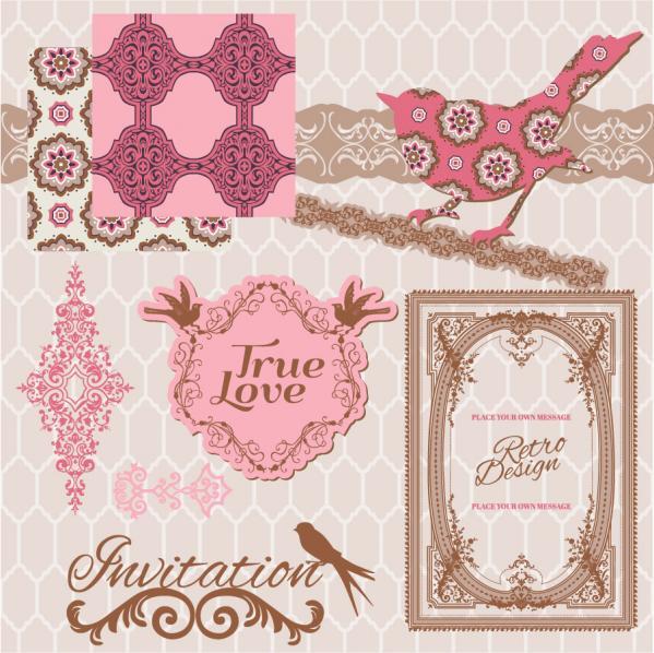 ロマンチックなレース パターンのボーダー romantic pattern lace border
