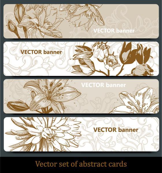 花弁のラインアート バナー line art flower pattern banner