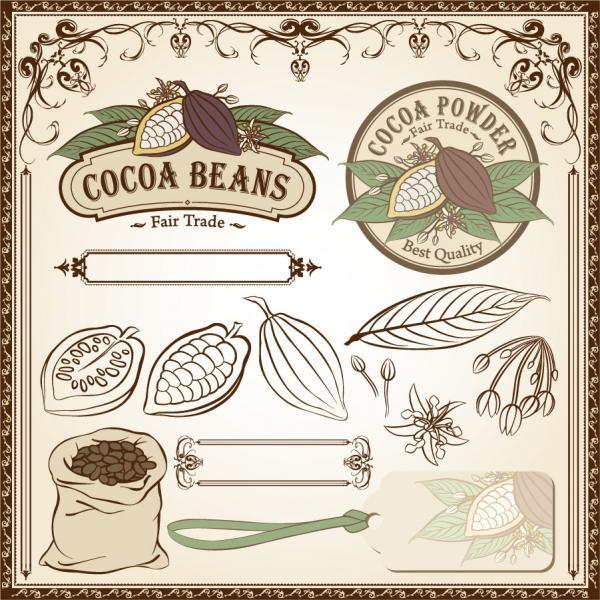 カカオ豆のイラスト素材 fine line issued on cocoa beans