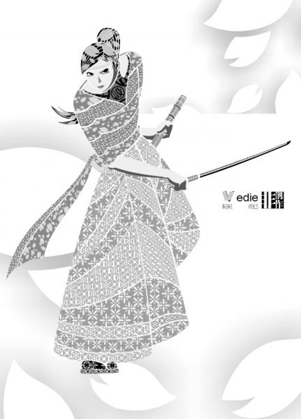女性剣士侍の線画 samurai decoration pattern gray vector