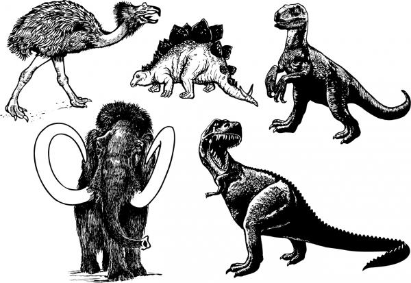 恐竜 イラスト 線画 prehistoric animals cdr