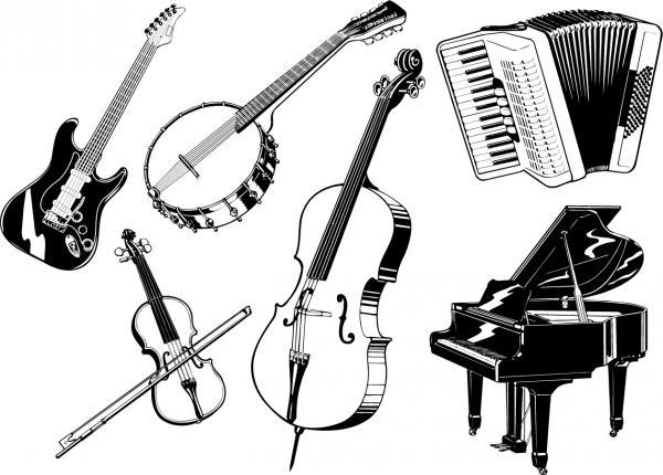 弦楽器のイラスト線画 musical instruments vector