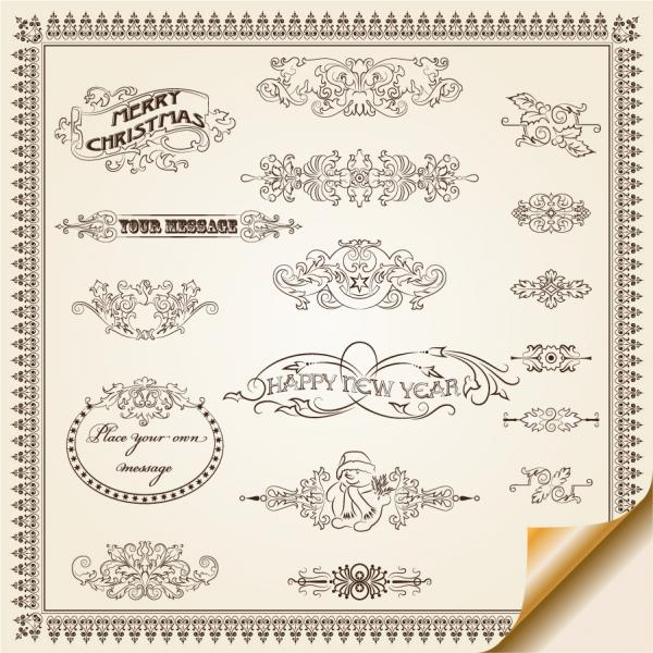 捲れた紙と飾り罫 lace corner borders material
