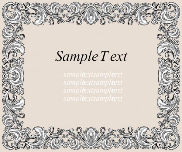 ヨーロッパ調のテキストフレーム vintage european pattern text frame