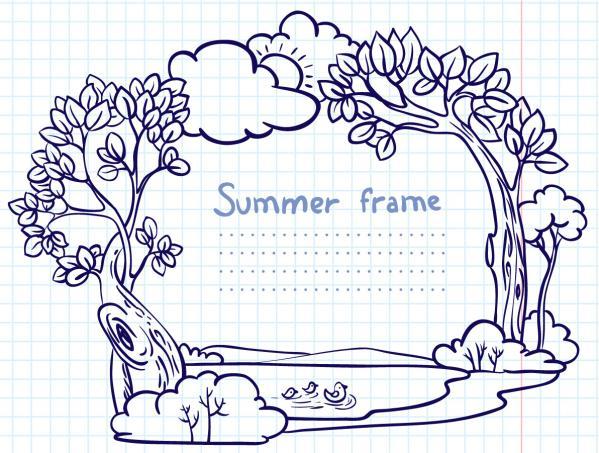 手書きの風景で囲んだテキストフレーム Hand-painted cartoon frame
