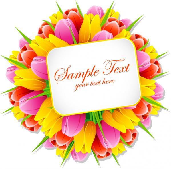 チューリップの花束とテキストスペース bouquets flowers tulips material