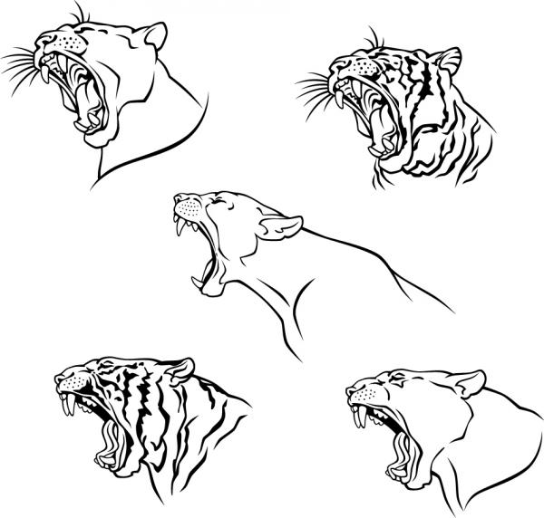 虎の線画 Tiger avatars Vector