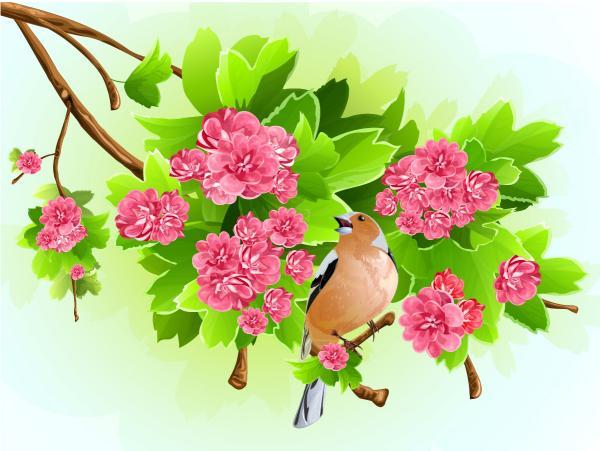 花の枝にとまる小鳥 oriole tree branches vector