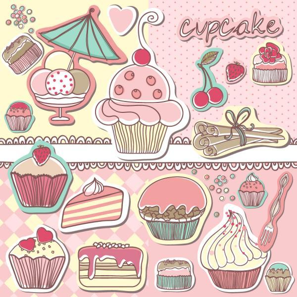 手描き風スイーツ ラベル cartoon cakes tag vector