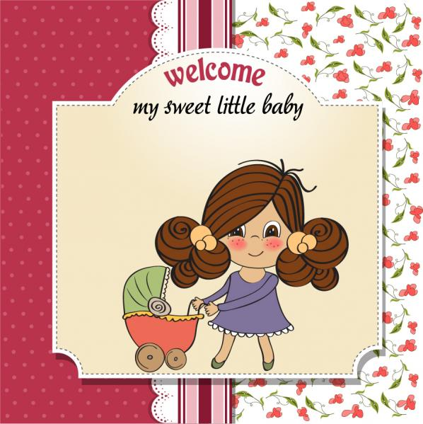 ベビーカーを押す少女の表紙 Cartoon cute girl baby carriages card