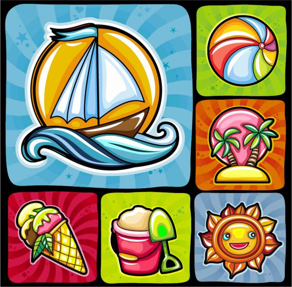 夏を表現したアイコン Image icon of summer
