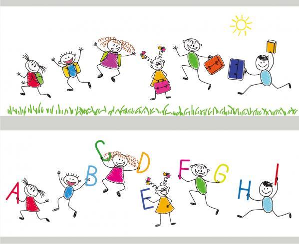 通学する生徒の手書き漫画 cartoon handpainted students