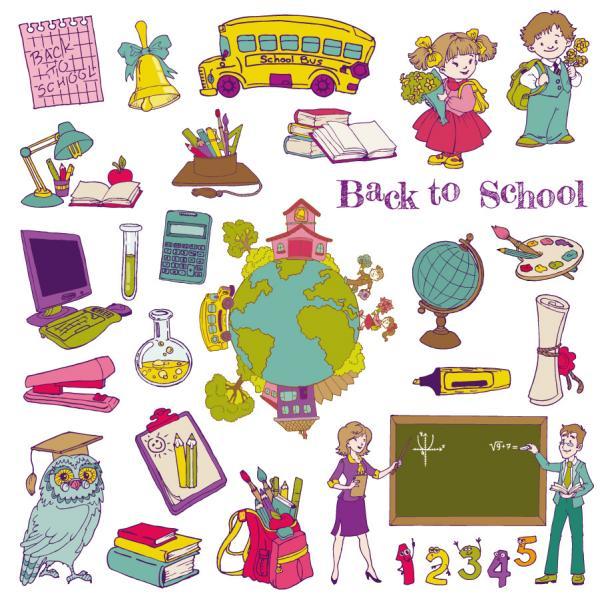 学習する子供達のアイテム cartoon learning items
