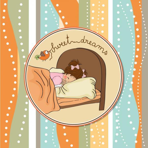 ベッドで夢を見る少女 girl child sleep background