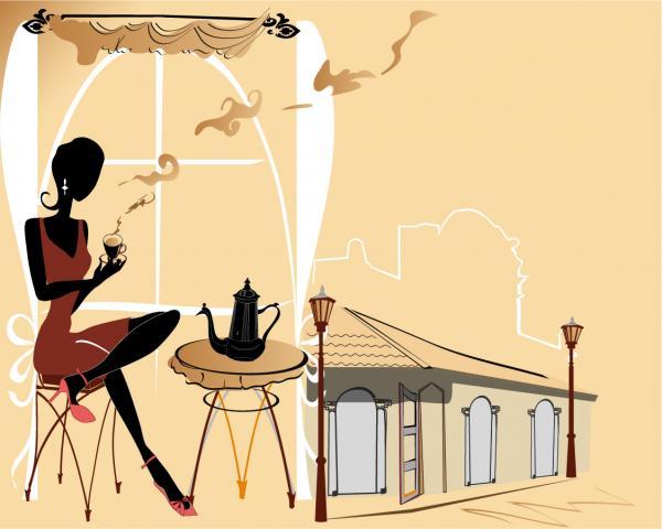 カフェでお茶を楽しむ女性のシルエット street cafes seating chairs