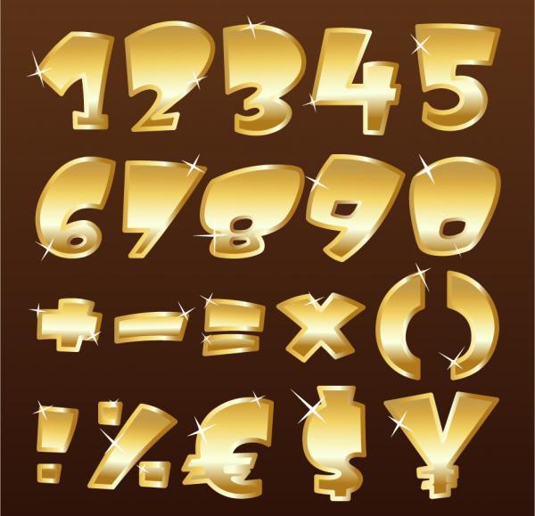 金色の光沢ある数字と記号 glossy metal symbols font design
