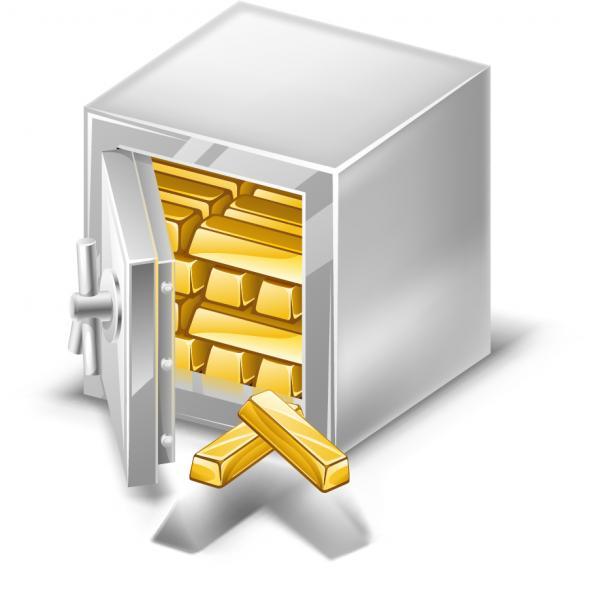 金の延べ棒と金庫 Deposit box and bars of gold