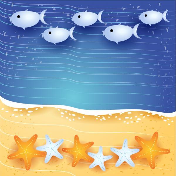 海辺を泳ぐ魚の背景 summer beach background