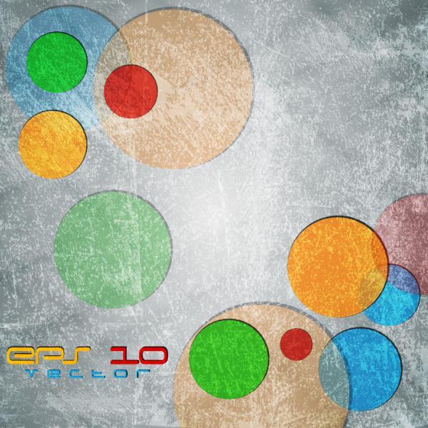 色違いの円を擦った背景 Retro friction scratche background