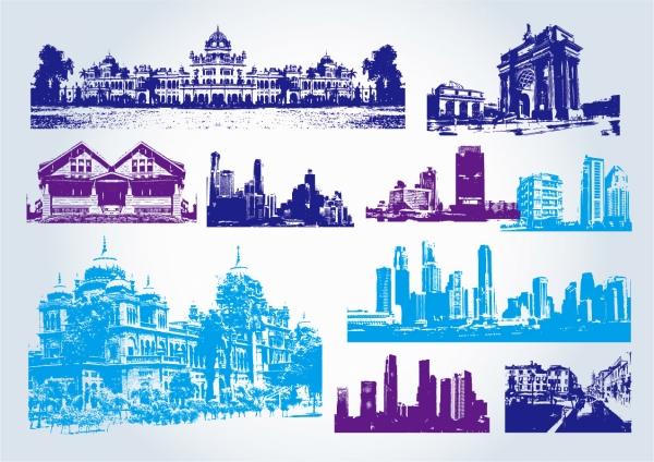 建造物のシルエット Buildings Clip Art