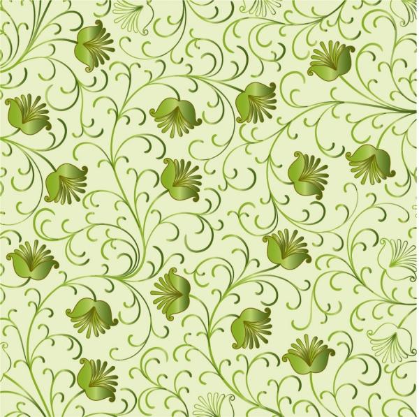シームレスな緑の植物柄背景 Green Floral Background