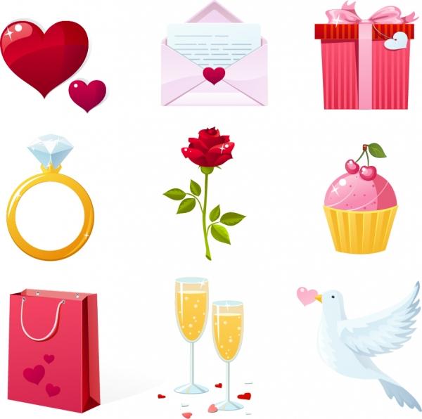 バレンタインデー素材のクリップアート Heart valentine elements vector
