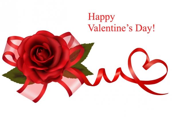 薔薇とリボン飾りのバレンタインデー背景 Valentines Day background roses hearts shawls ribbons