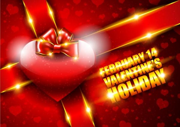 ハート・リボンのバレンタインデー背景 heart-shaped red romance love bright bow