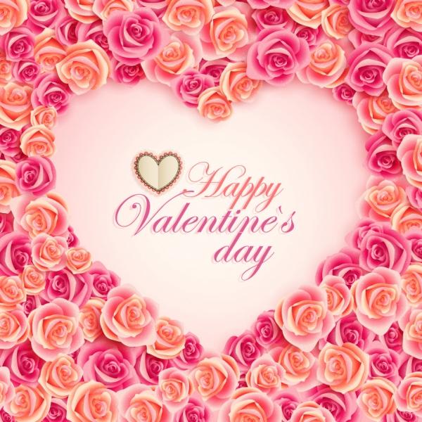 薔薇の花でハートを型どるバレンタインデー背景 Heart oldfashioned valentine cards