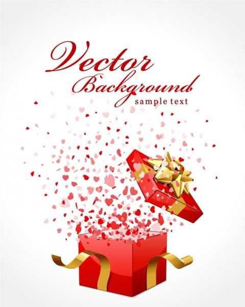 バレンタインデー ギフトボックスのクリップアート Heart valentine day gift ribbon and clip art3
