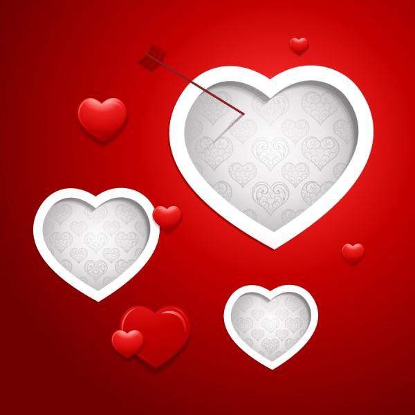 ハート型に切り抜いた赤い背景 Valentine Vector Red Background