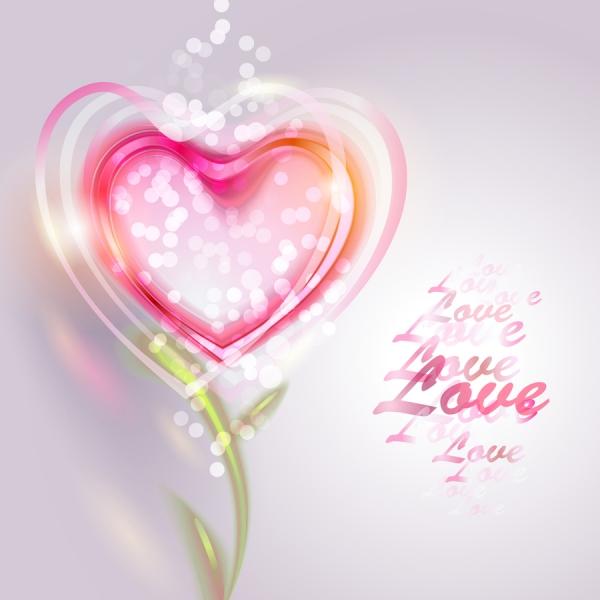 透明なハート型のバレンタインデー背景 Pink Valentine Love Vector Background