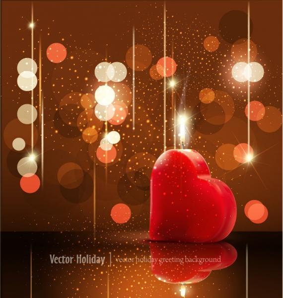 ハートを照らすバレンタインデーカードの背景 Valentine's Day greeting card background