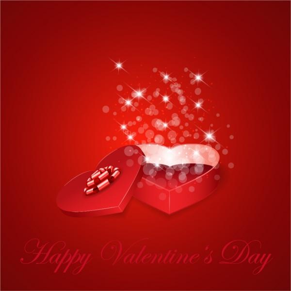光が溢れるバレンタインデーのプレゼント箱 Heart Gift Present for Valentine's Day Background